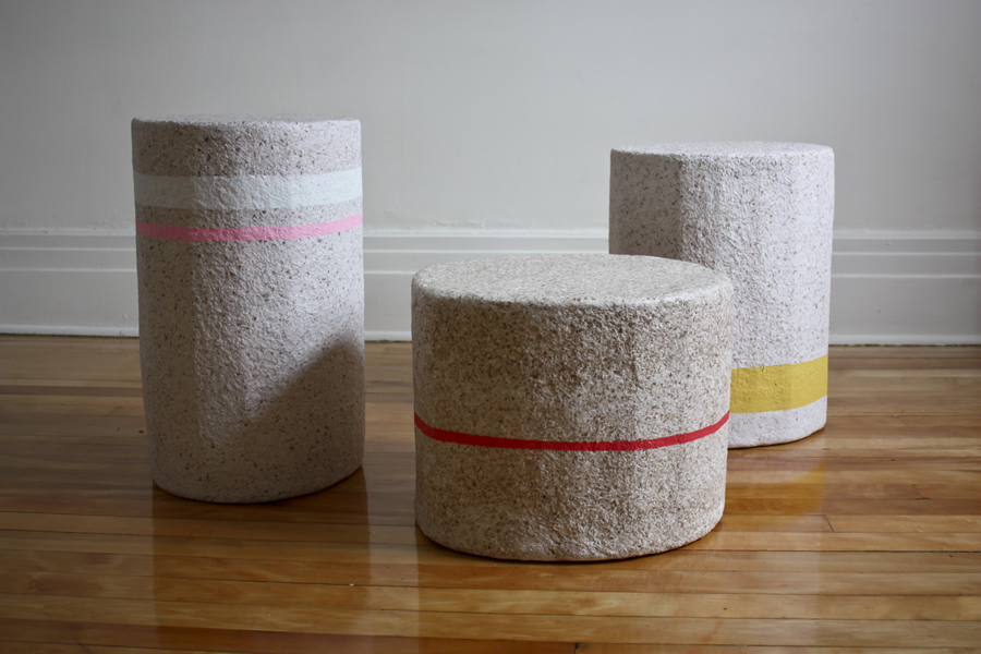 """Paperscapes: Paperscapes, is an extensive exploration into paper-made objects that function as furniture, lighting, and wall treatments. Using recycled paper sourced from the local industry waste, and drawing from our sculptural backgrounds, we have manipulated paper in a similar way to how clay can be sculpted and have created limited edition functional stools/side tables and large dome lights.   Paperscapes, is at Toronto's Gladstone Hotel for the annual event, Come Up To My Room, until the end of March, 2016. The show centres around the theme of privacy, with the domes hovering over stools, intended to offer a little """"head space""""."""